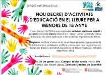 Sessió informativa sobre el nou decret d'activitats d'educació en el lleure i activitats esportives per a menors de 18 anys